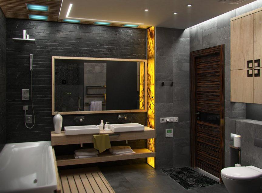 zwarte elementen badkamer