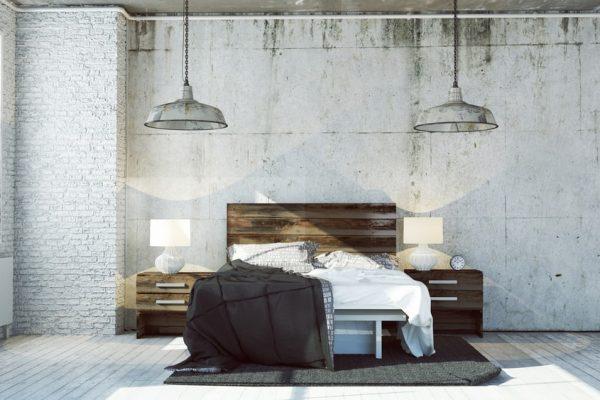 Een slaapkamer in industriële stijl